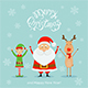 Santa with Elf and Reindeer on a Blue Christmas Background