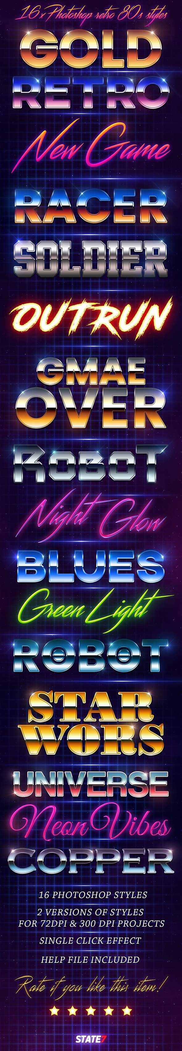 80s Style text effect - Text Effects Styles