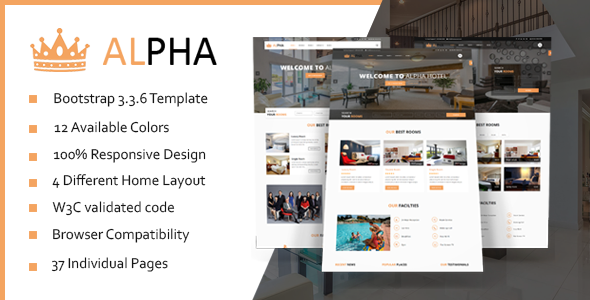 Image of Hotel Alpha - Hotel Booking HTML Template