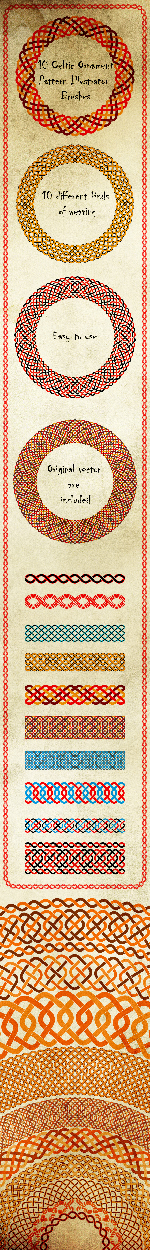 GraphicRiver Celtic Knot Ornament Brushes Weaving Motive Adobe Illustrator Brushes 20955540
