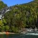 Autumn Forest and Rocky Waterfall. Tent Is on the Shore of the River - VideoHive Item for Sale