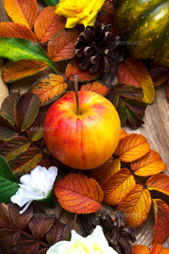 Thanksgiving background with ripe apple - Stock Photo - Images