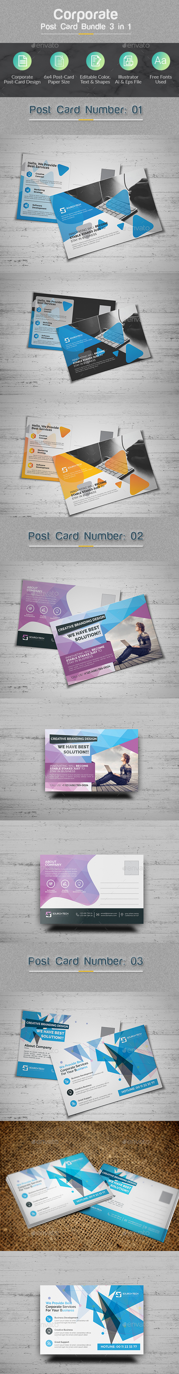 GraphicRiver PostCard Bundle 3 in 1 20955724