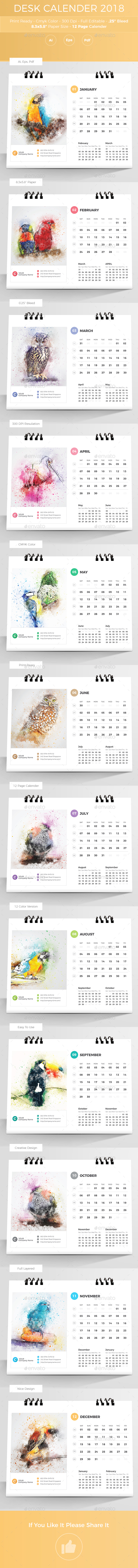 GraphicRiver Desk Calender 2018 20955725
