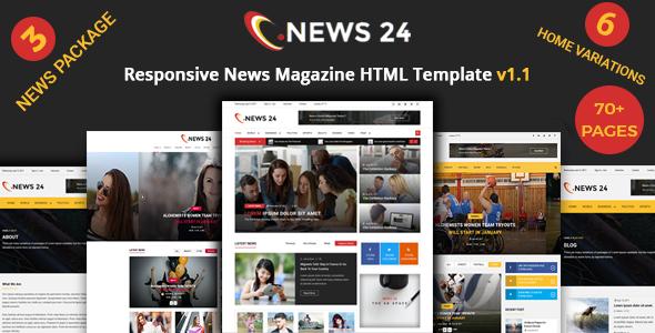 News 24 - News Magazine Responsive HTML Template - Entertainment Site Templates