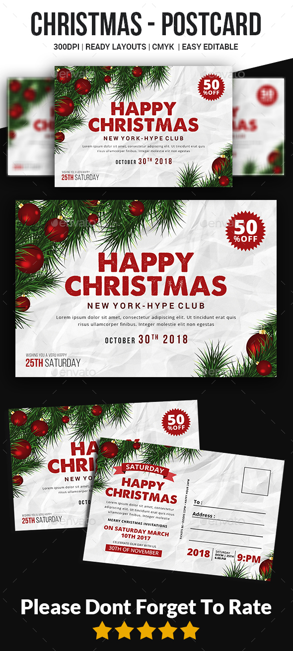 GraphicRiver Christmas Postcard Templates 20956094