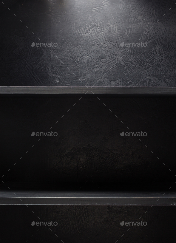wooden shelf at black wall - Stock Photo - Images