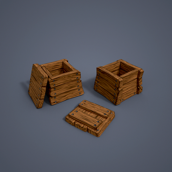 3DOcean Wooden boxes low poly 20956232