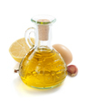 bottle of oil isolated and spices at white - PhotoDune Item for Sale