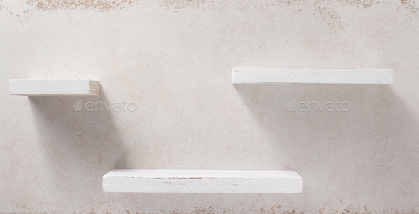 wooden shelf and concrete wall - Stock Photo - Images