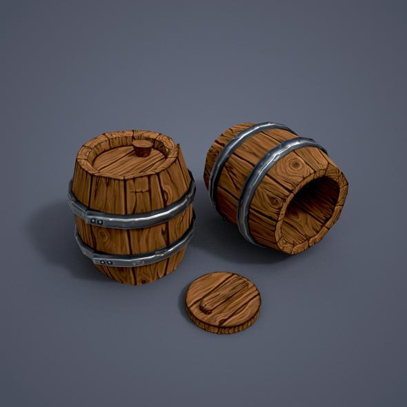 3DOcean Wooden barrels low poly 20956593