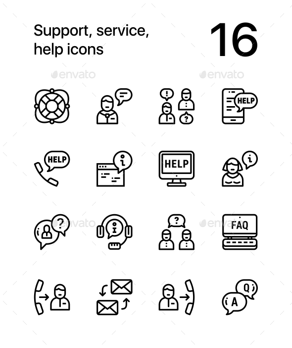 GraphicRiver Support Service Help Simple Line Icons for Web and Mobile Design Pack 1 20956599