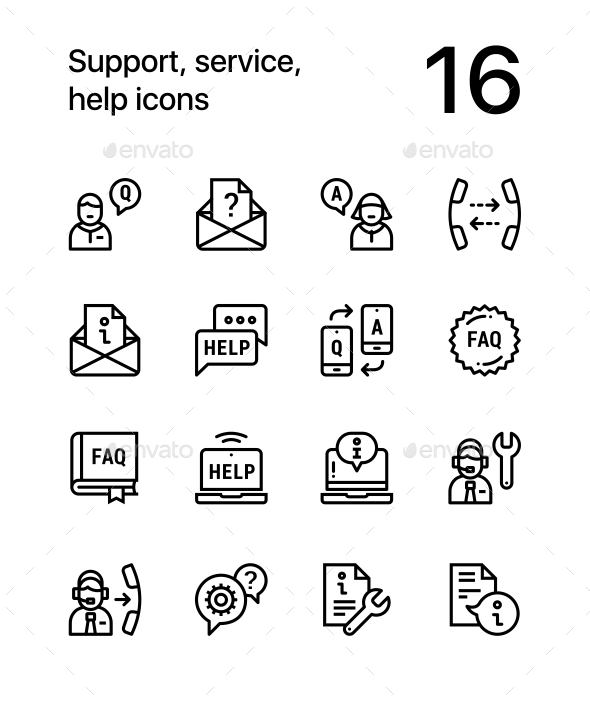 Support, Service, Help Simple Line Icons for Web and Mobile Design Pack 2 - Icons