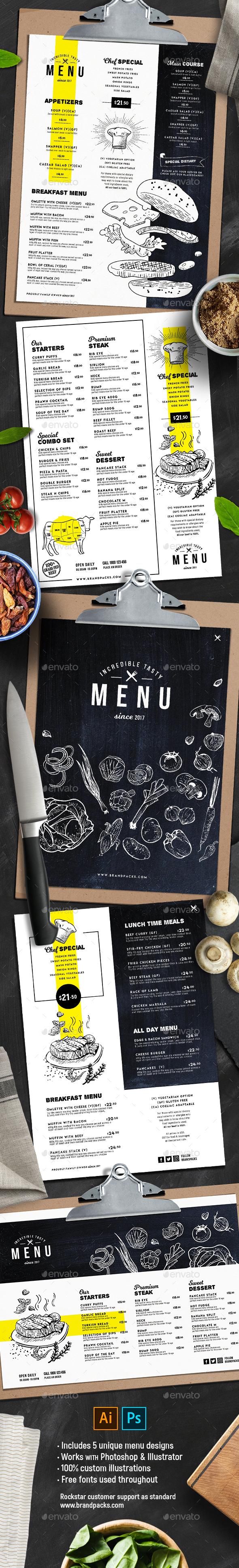 Food Menu Templates - Food Menus Print Templates