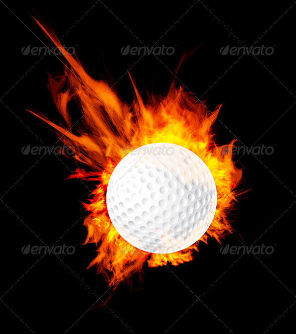 Golf Ball On Fire - Sports/Activity Conceptual