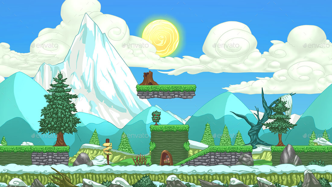 2D Platformer Mountain Game Background with Tile Sets & Objects