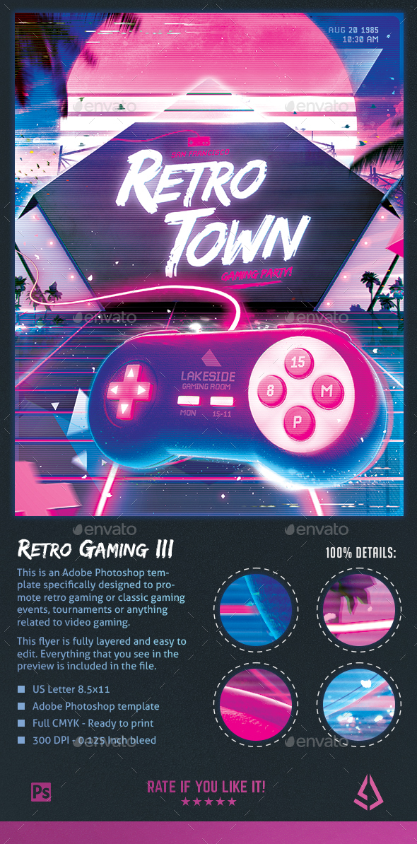 Retro Gaming Flyer III - Classic Gaming Neon Template - Miscellaneous Events