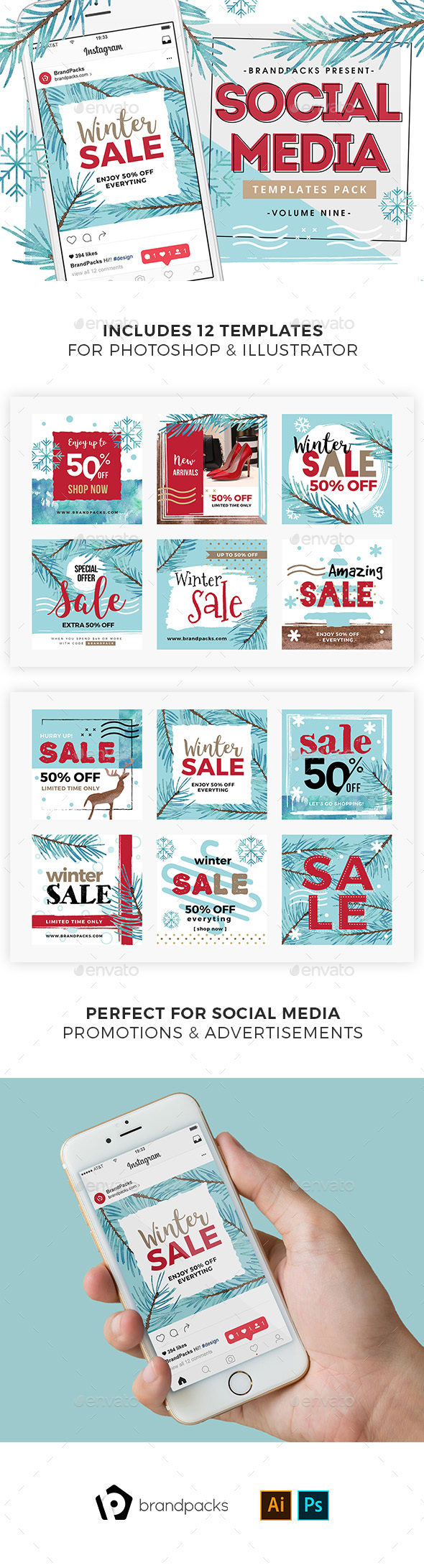 Winter Sale Social Media Templates - Social Media Web Elements