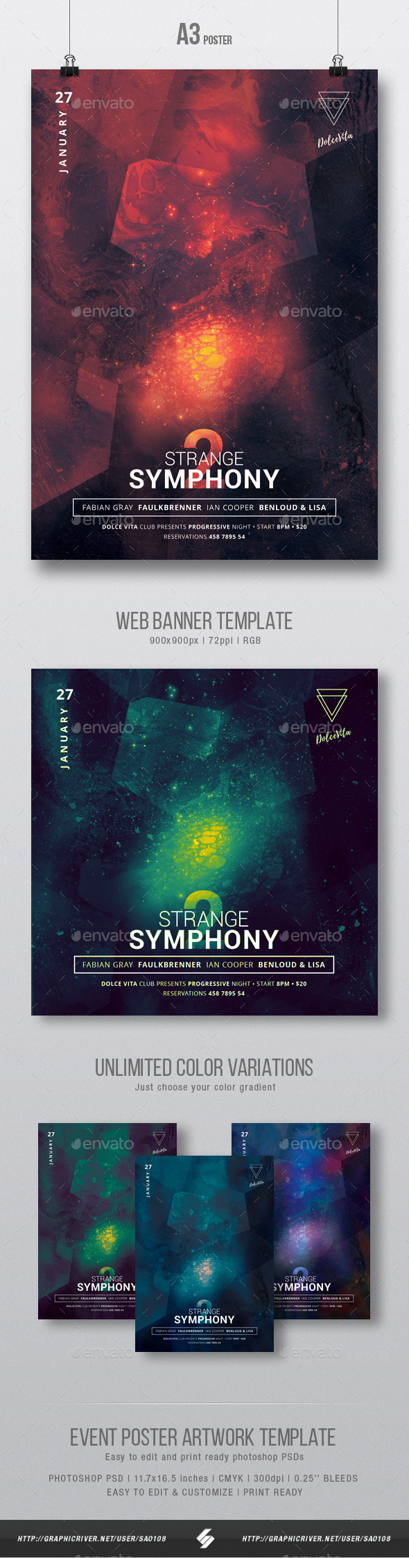 Strange Symphony vol.2 - Minimal Party Flyer / Poster Artwork Template A3 - Clubs & Parties Events