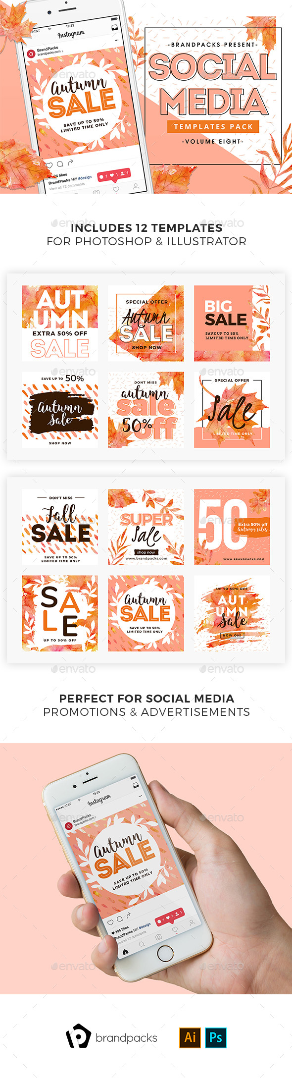 GraphicRiver Autumn Fall Sale Social Media Templates 20957693