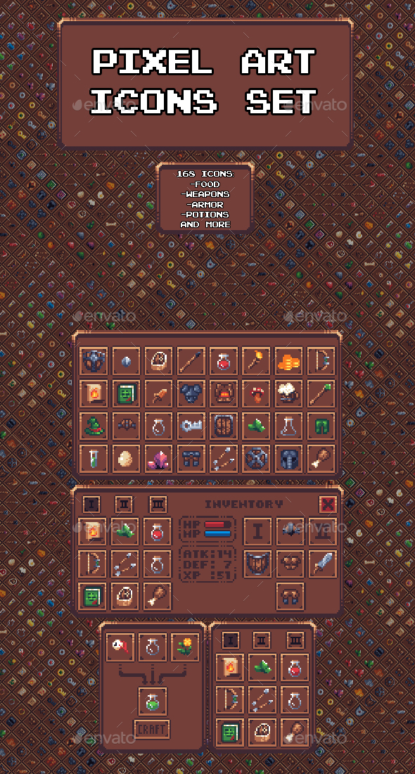 GraphicRiver Pixel Art Icon Set 20953237