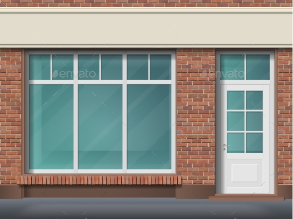 GraphicRiver Brick Store Front with Large Transparent Window 20957722