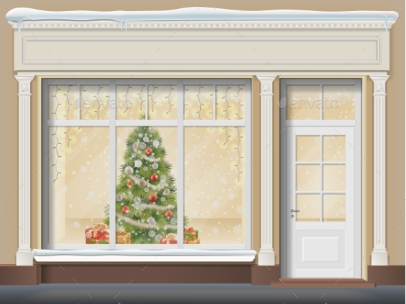 Storefront with  Showcase Decorated for Christmas - Seasons/Holidays Conceptual
