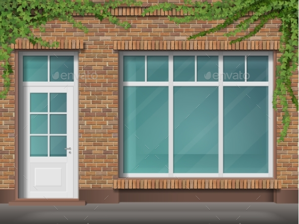 Brick Store Front with Large Window and Ivy - Buildings Objects
