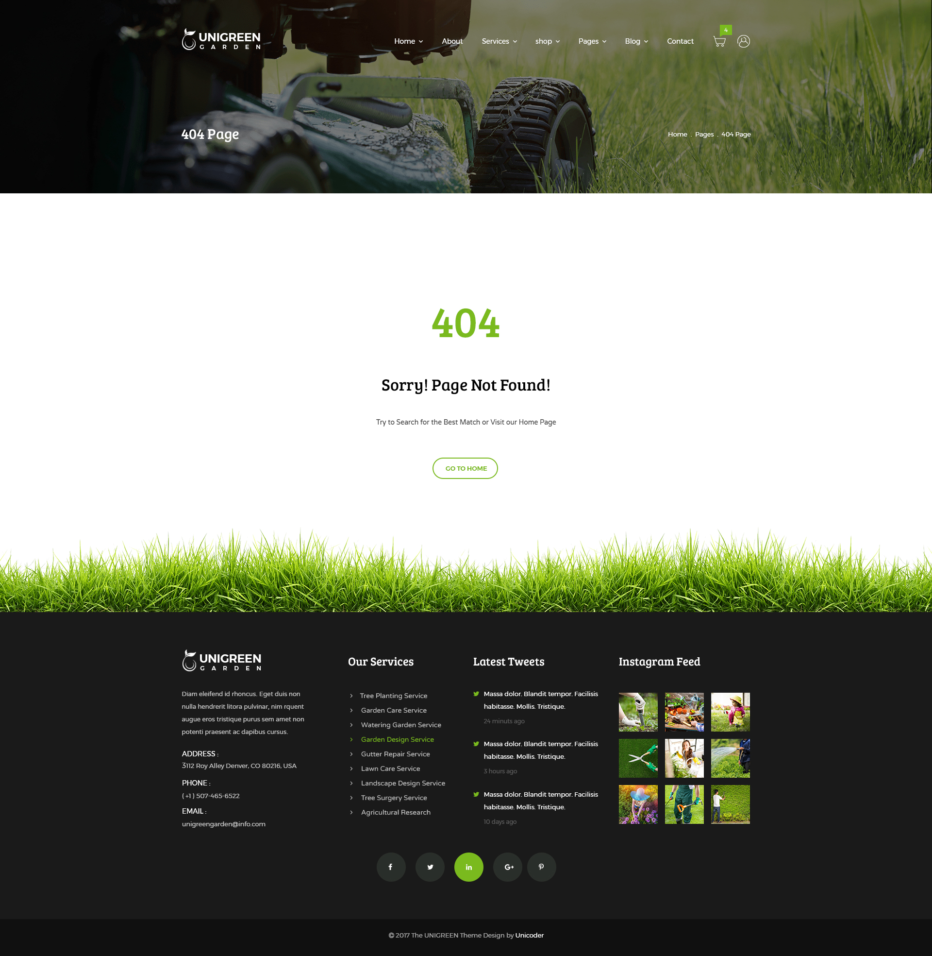 Unigreen   Gardening And Lawn Care Service PSD Template