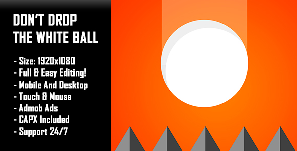 Source code              Don't Drop The White Ball – HTML5 Game + Mobile Version! (Construct-2 CAPX)            nulled