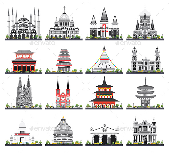 Religious Buildings Set Isolated on White Background. - Buildings Objects