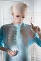 Portrait of sick balding woman in the hospital