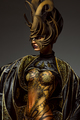 Studio portrait of beautiful model with fantasy golden butterfly body art and crown