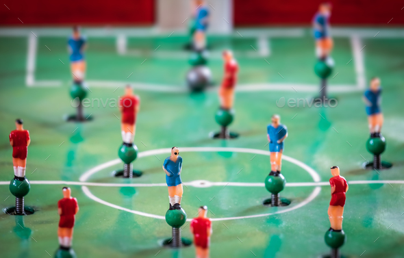 Player figurines of tabletop football game - Stock Photo - Images