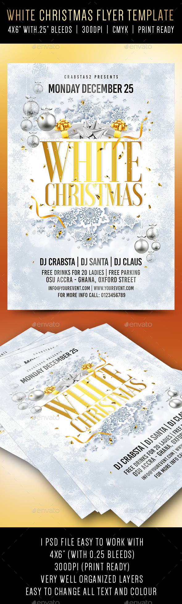 White Christmas Flyer Template - Holidays Events