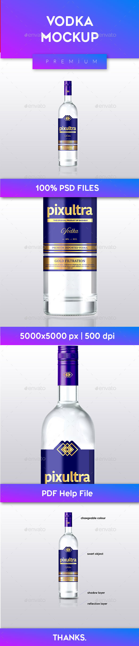 GraphicRiver Vodka Bottle Mockup 20958386