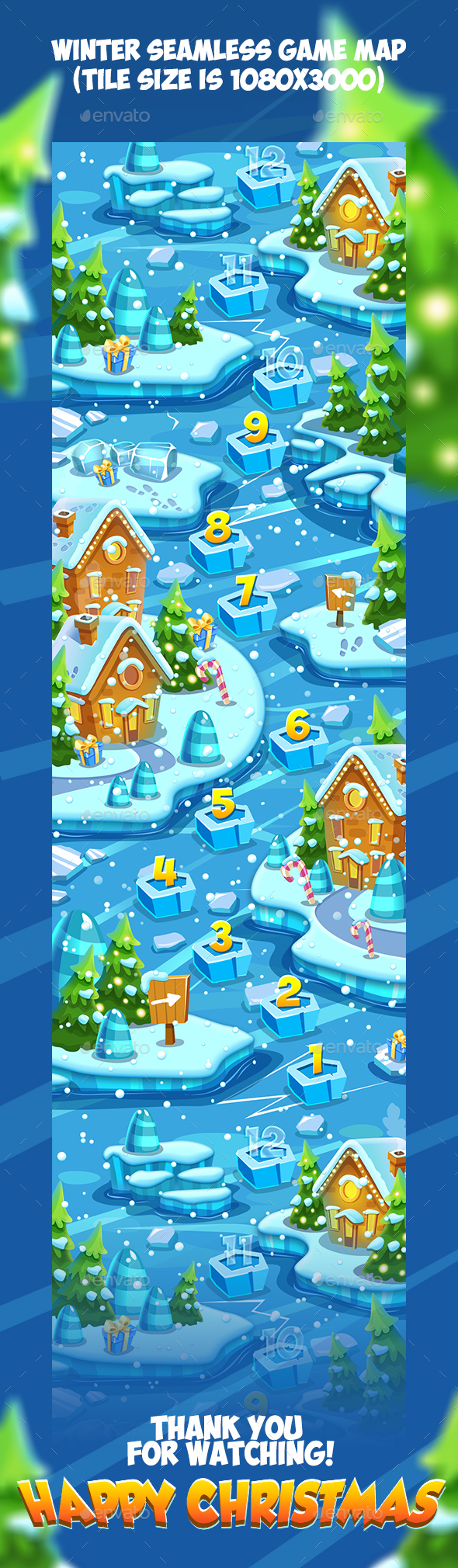 GraphicRiver Tileable Seamless Winter Vertical Game Map 20958394