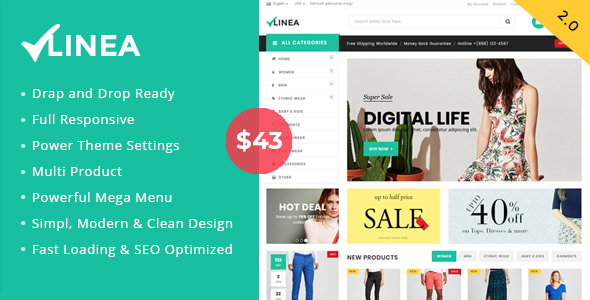 ThemeForest Linea Clothing Store Shopify Theme Sections Drag & Drop Ready 20804896