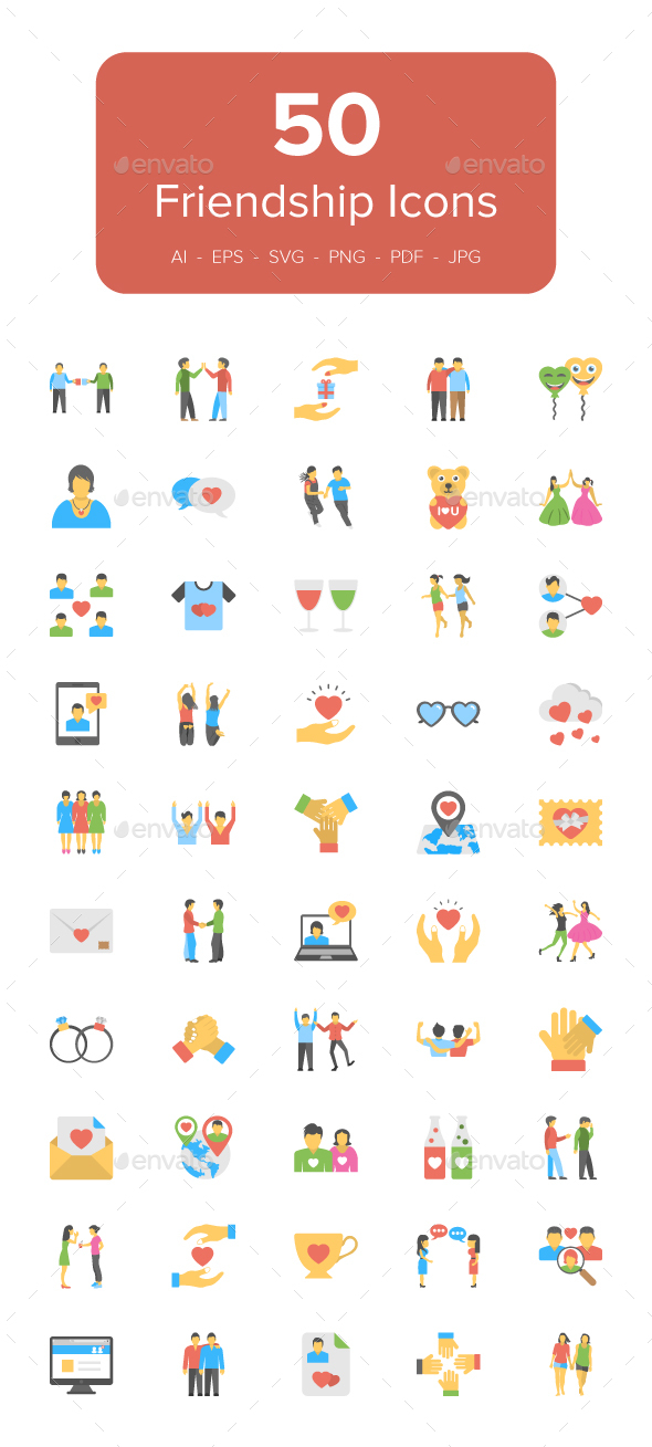 GraphicRiver 50 Flat Friendship Icons 20959321