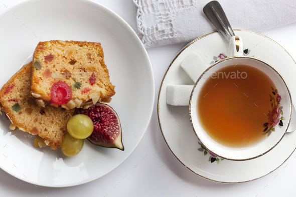 Tea and cake - Stock Photo - Images