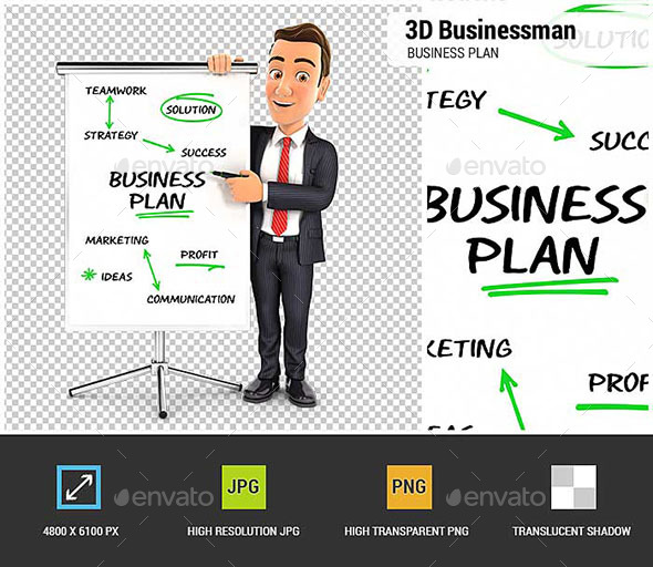 3D Businessman Writing Business Plan on Paperboard - Characters 3D Renders