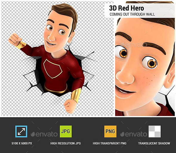 GraphicRiver 3D Red Hero Coming out Through a Wall 20959572