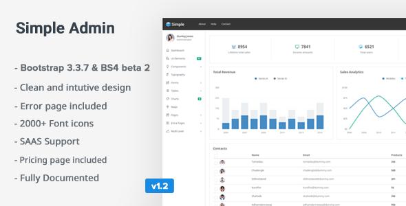 SimpleAdmin - Responsive Bootstrap 4 Admin Template - Admin Templates Site Templates