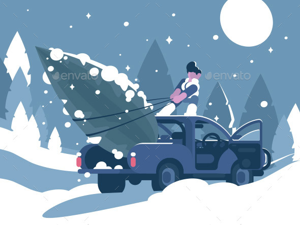 GraphicRiver Man Loading Christmas Tree in Car 20959796
