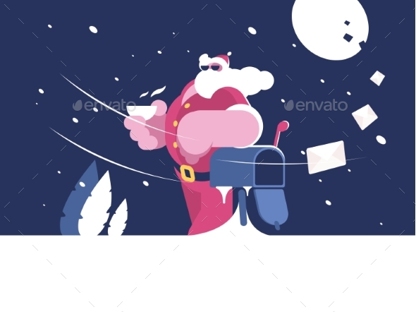 GraphicRiver Santa Claus Stands Near Mailbox 20959801
