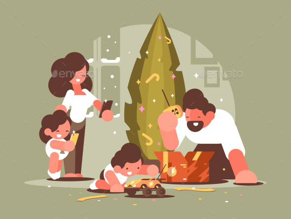 GraphicRiver Parents with Children Open Christmas Presents 20959805
