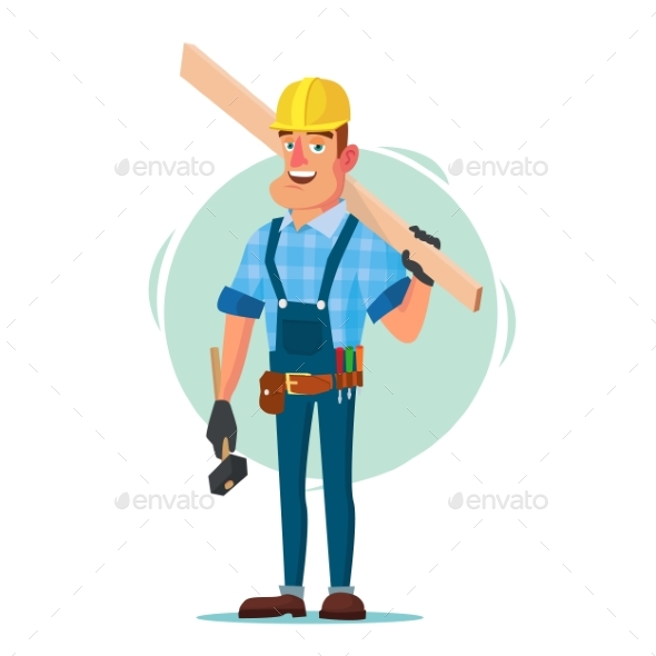 GraphicRiver Timber Frame House Construction Worker Vector 20960184