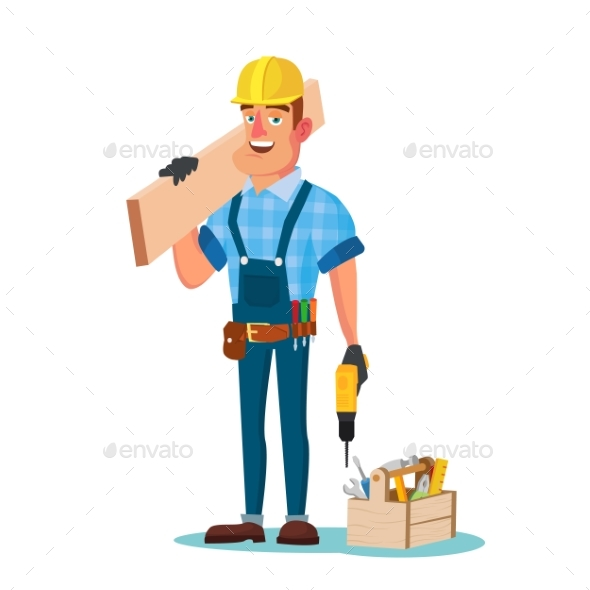 Construction Worker Building Timber Frame Vector - Industries Business