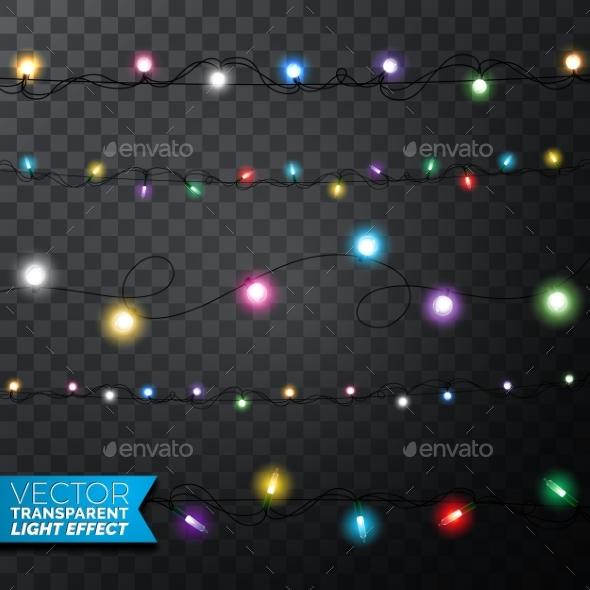 Glowing Christmas Lights Realistic Isolated Design - Christmas Seasons/Holidays
