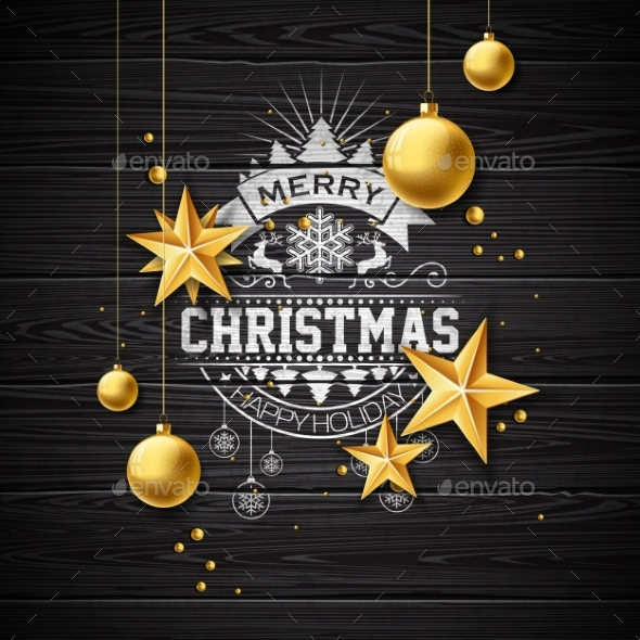Merry Christmas Illustration on Vintage Background - Christmas Seasons/Holidays